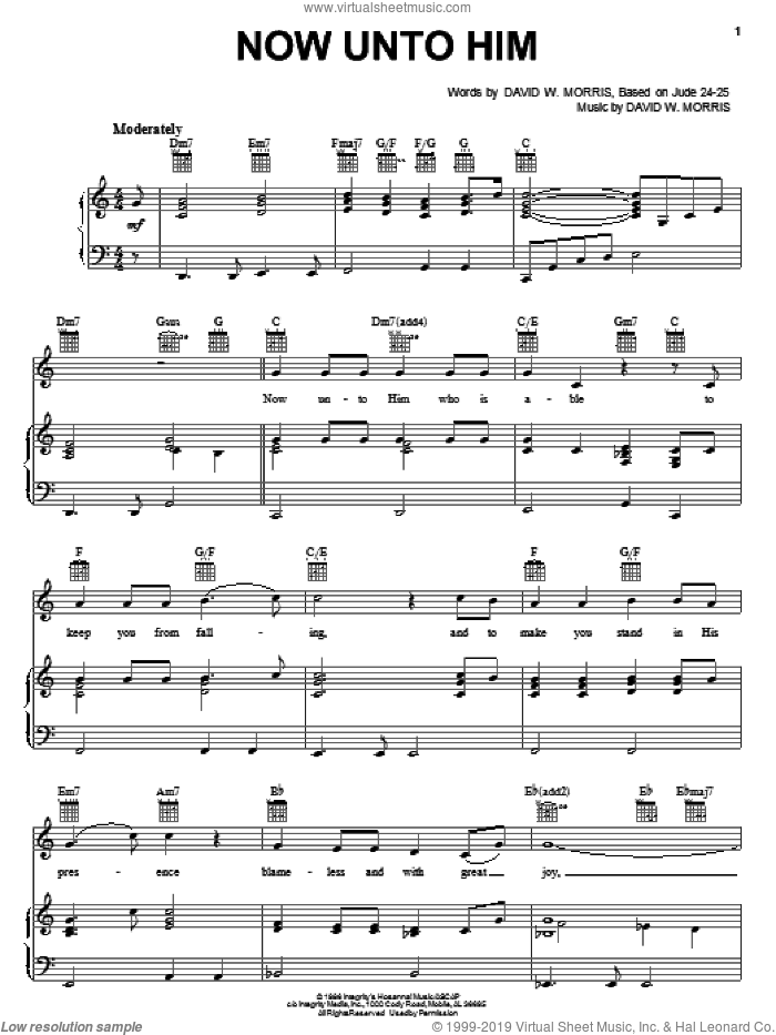 Now Unto Him sheet music for voice, piano or guitar by David W. Morris, intermediate. Score Image Preview.