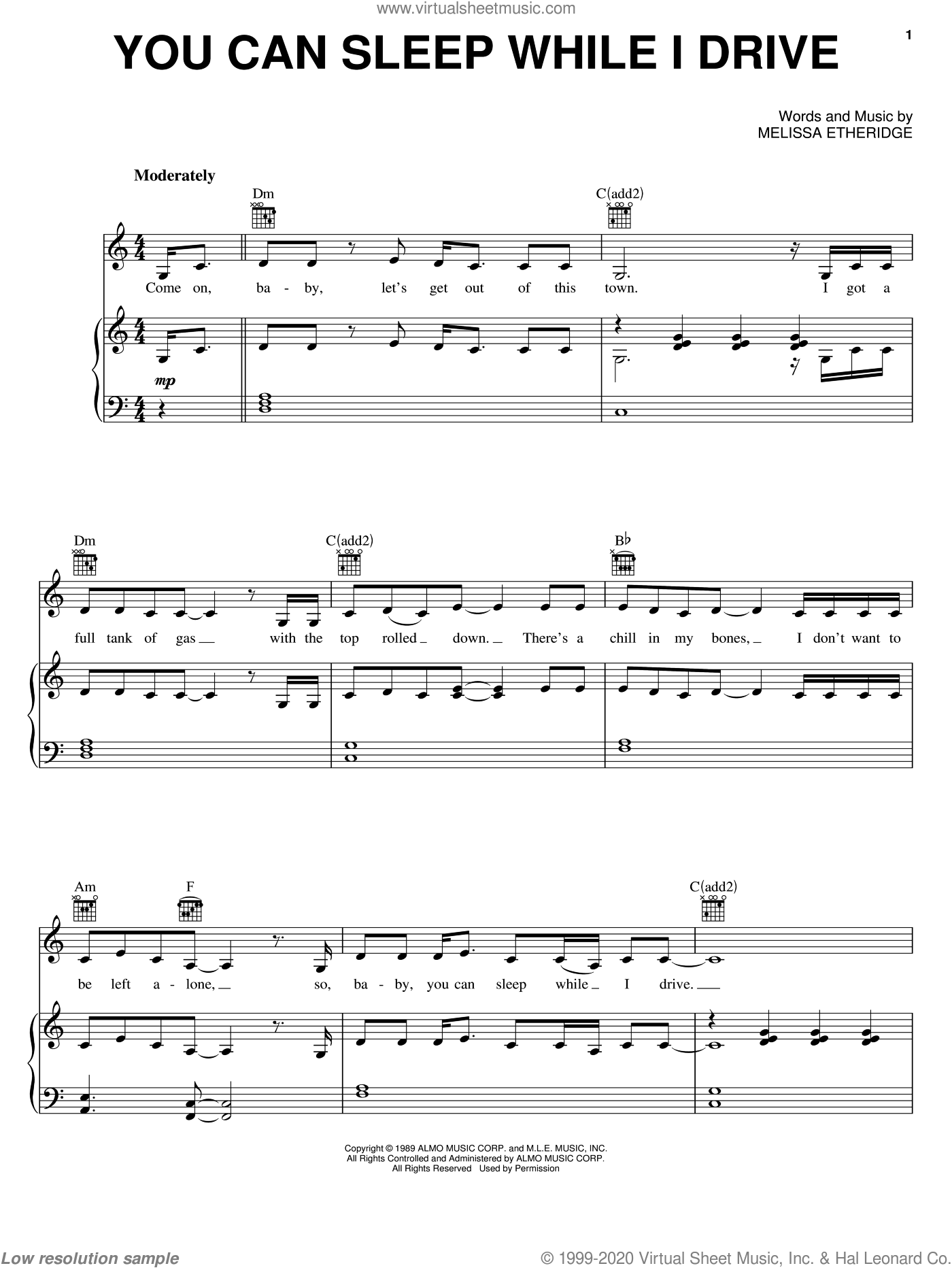 You Can Sleep While I Drive sheet music for voice, piano or guitar by Melissa Etheridge. Score Image Preview.