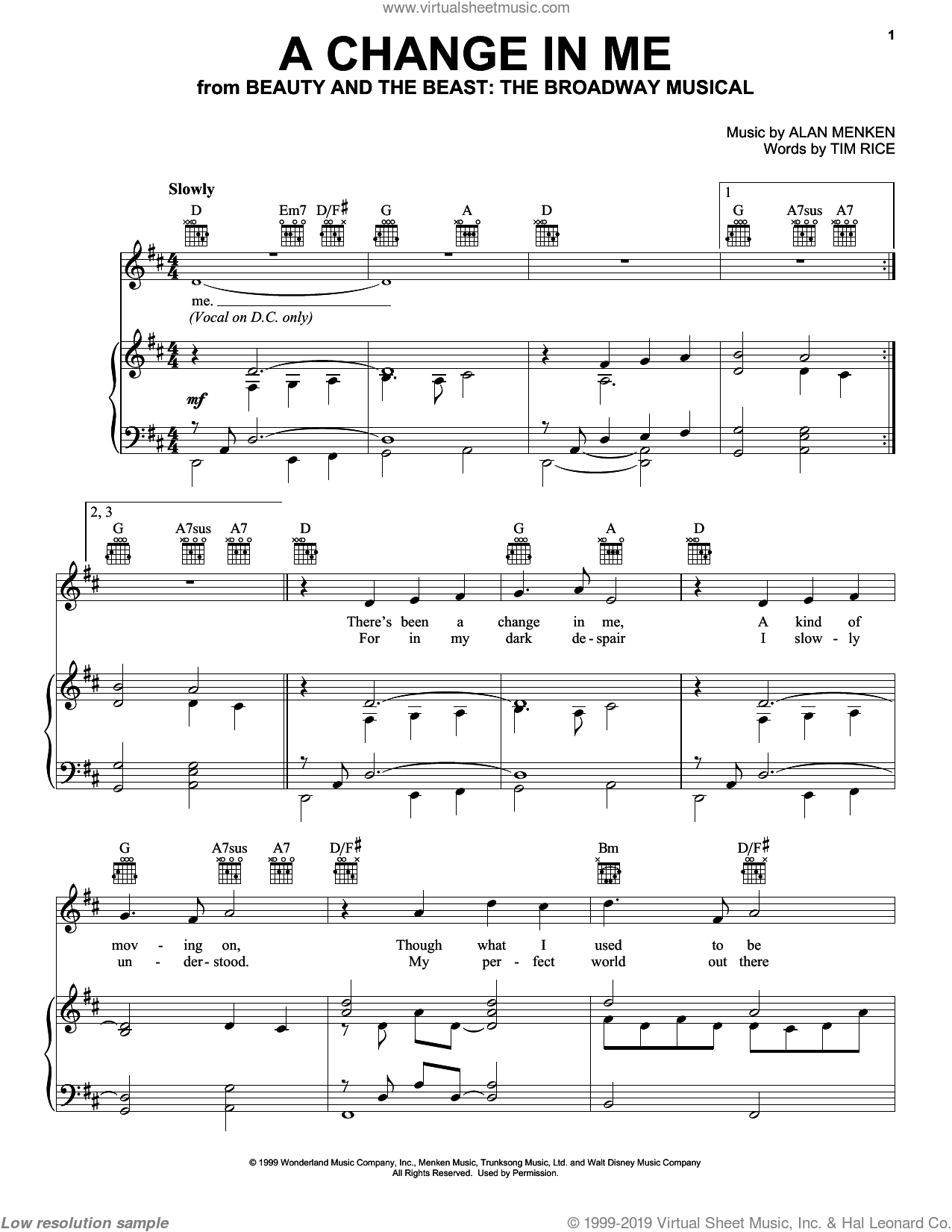 A Change In Me sheet music for voice, piano or guitar by Alan Menken and Tim Rice, intermediate. Score Image Preview.