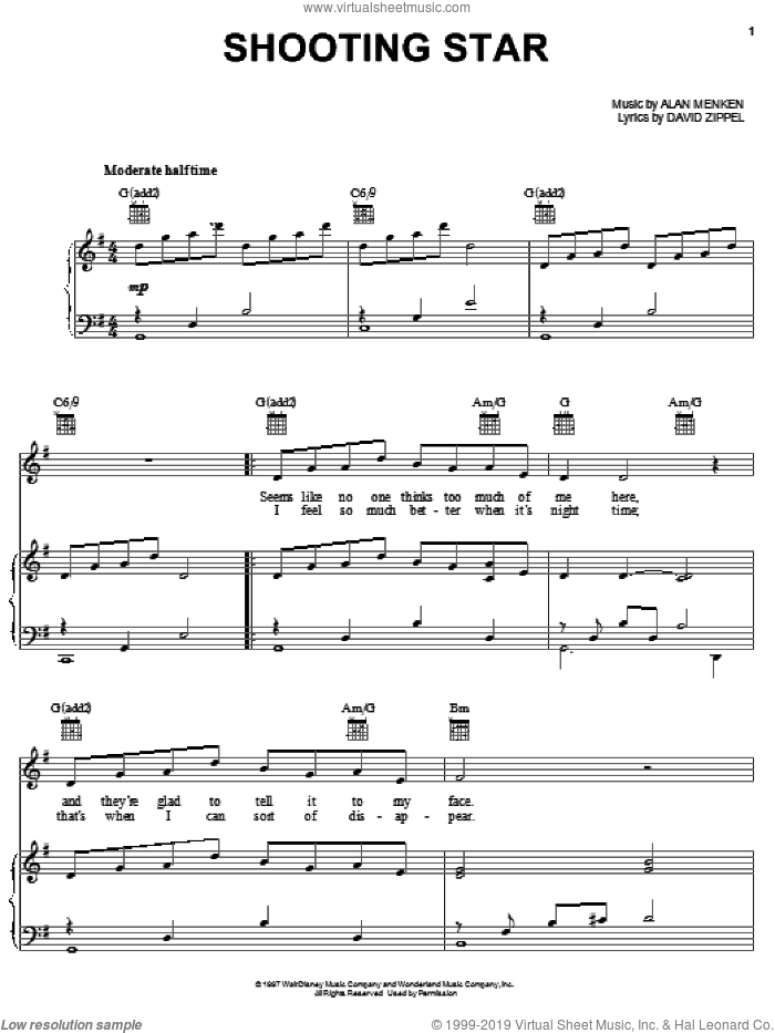 Shooting Star sheet music for voice, piano or guitar by Alan Menken and David Zippel. Score Image Preview.