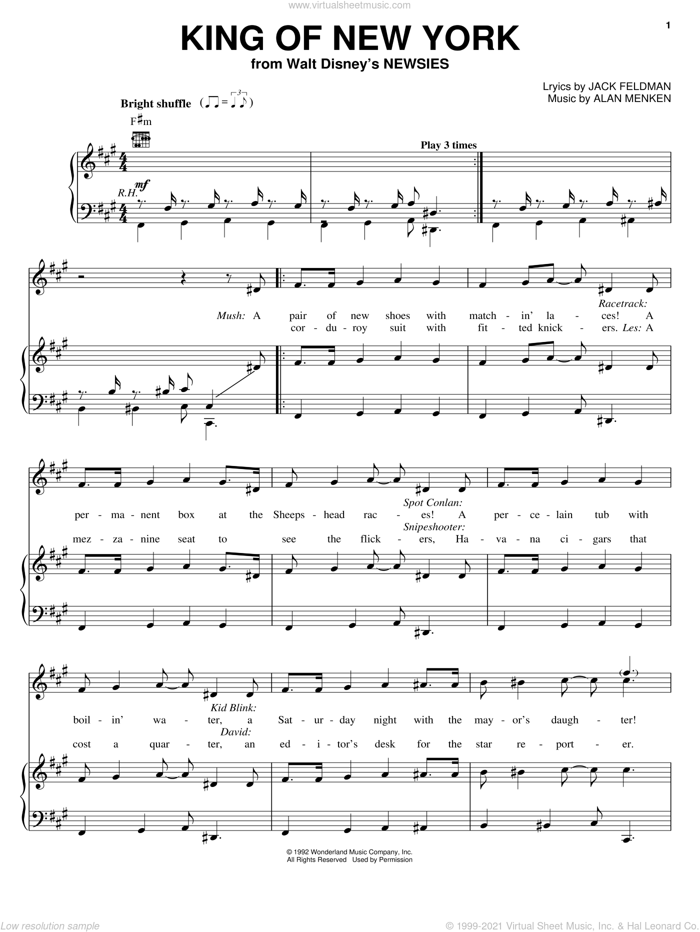 King Of New York sheet music for voice, piano or guitar by Jack Feldman and Alan Menken, intermediate voice, piano or guitar. Score Image Preview.