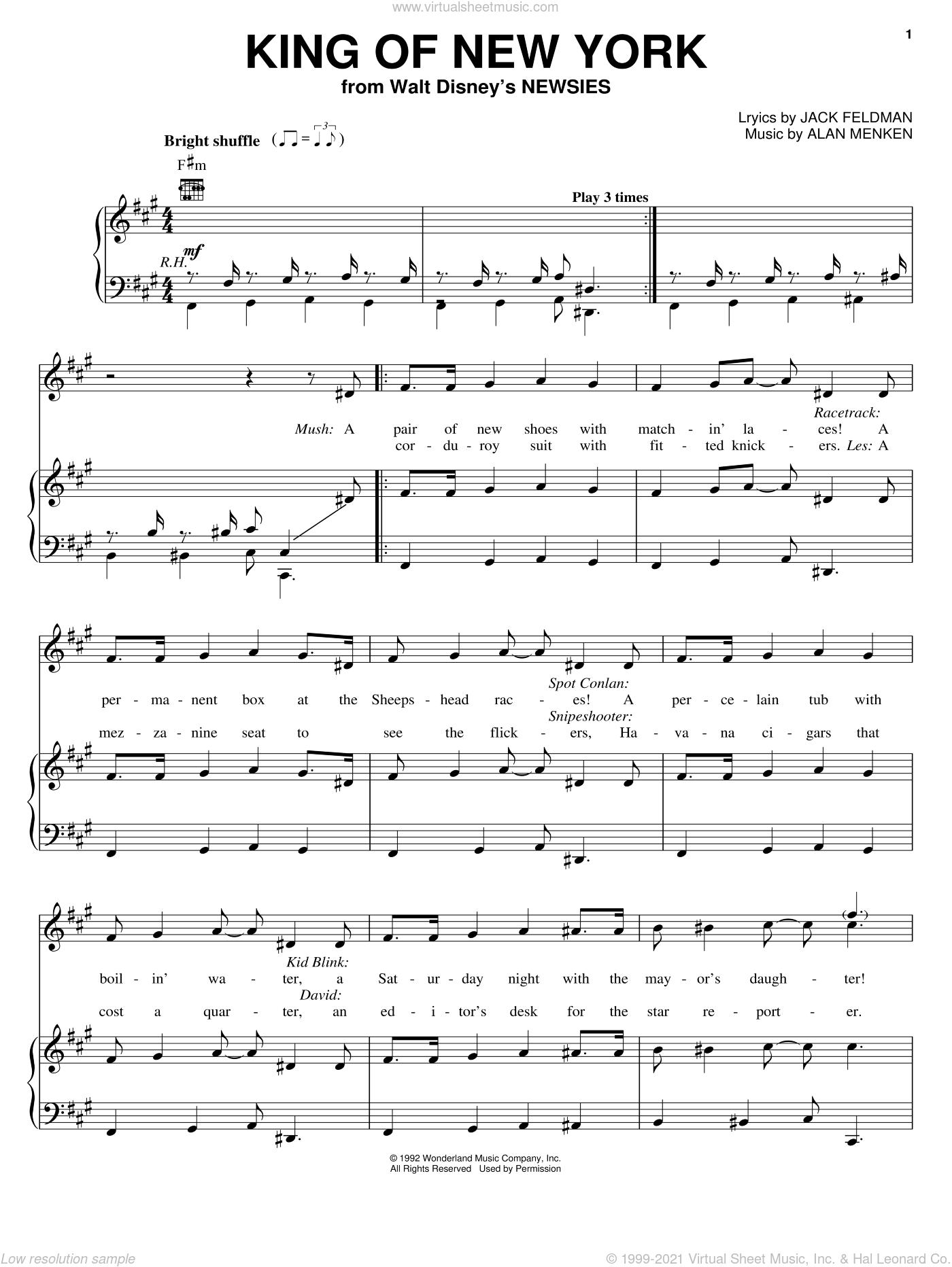 King Of New York sheet music for voice, piano or guitar by Jack Feldman, Newsies (Musical) and Alan Menken, intermediate skill level