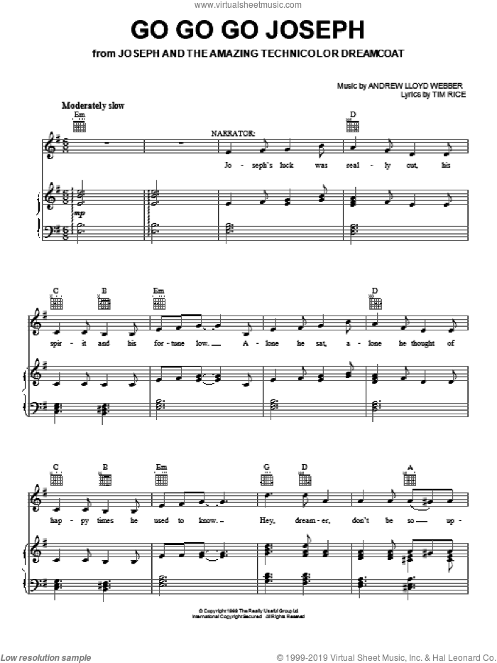 Go Go Go Joseph sheet music for voice, piano or guitar by Andrew Lloyd Webber, Joseph And The Amazing Technicolor Dreamcoat (Musical) and Tim Rice, intermediate skill level
