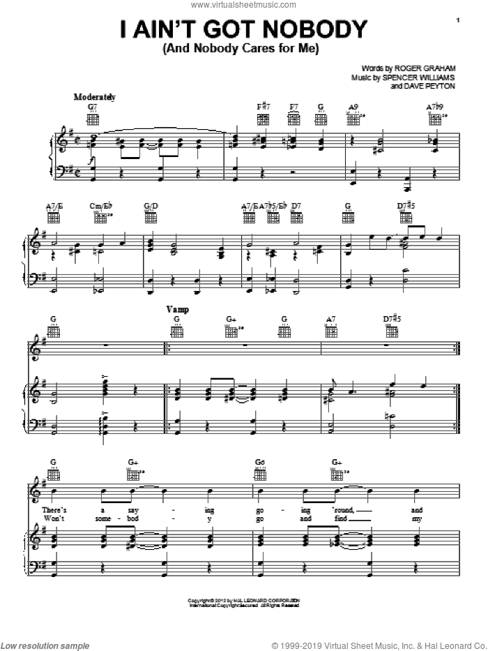 I Ain't Got Nobody (And Nobody Cares For Me) sheet music for voice, piano or guitar by Spencer Williams