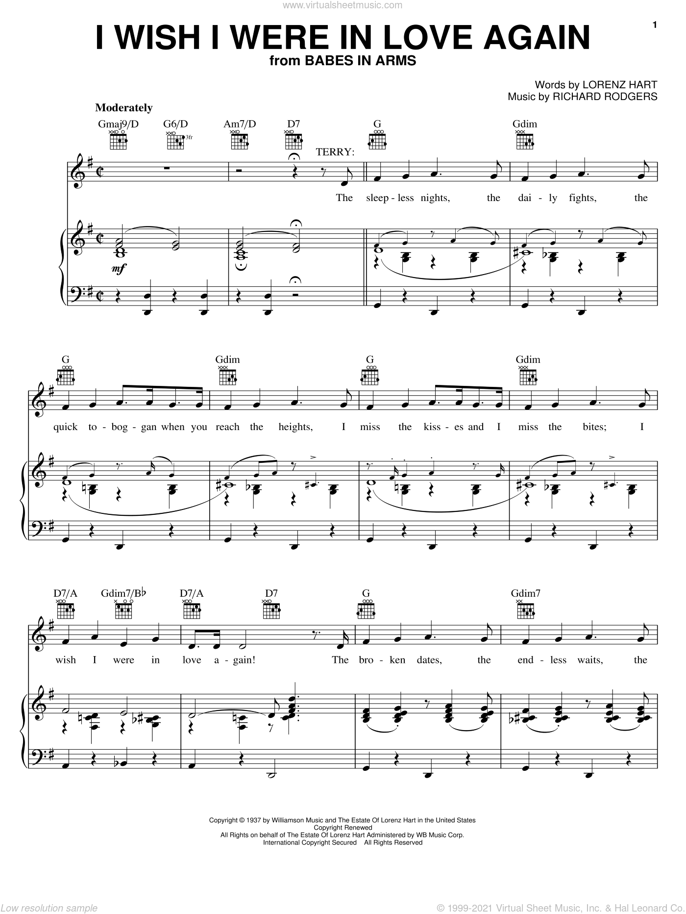 I Wish I Were In Love Again sheet music for voice, piano or guitar by Rodgers & Hart, Babes In Arms (Musical), Lorenz Hart and Richard Rodgers, intermediate skill level