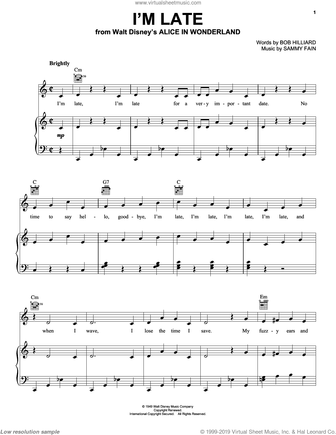 I'm Late sheet music for voice, piano or guitar by Bob Hilliard and Sammy Fain. Score Image Preview.