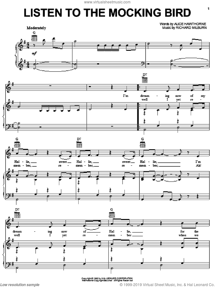 Listen To The Mocking Bird sheet music for voice, piano or guitar by Alice Hawthorne and Richard Milburn, intermediate skill level