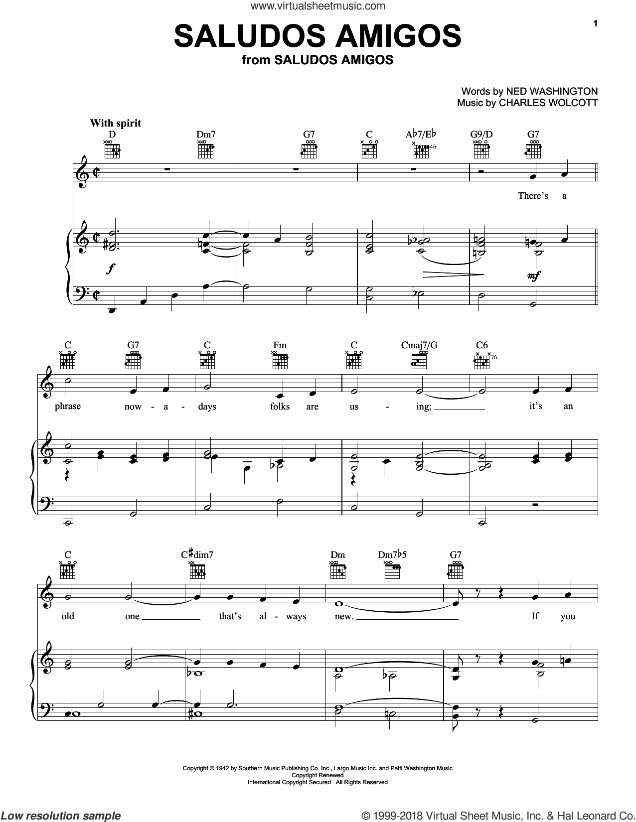 Saludos Amigos sheet music for voice, piano or guitar by Ned Washington and Charles Wolcott, intermediate skill level