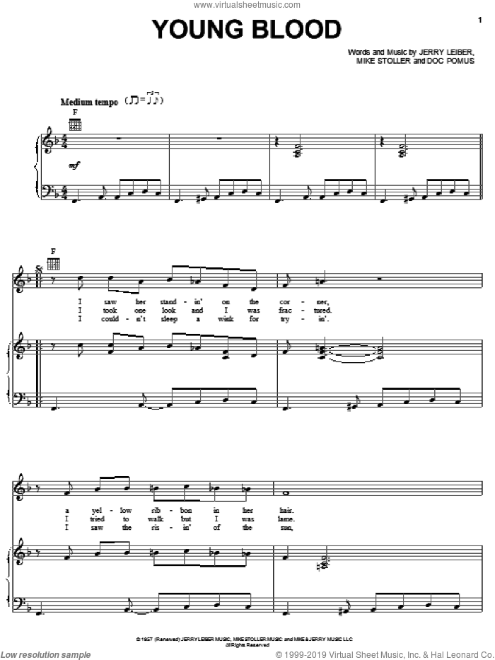 Young Blood sheet music for voice, piano or guitar by The Coasters, Doc Pomus, Jerome Pomus, Jerry Leiber and Mike Stoller, intermediate skill level