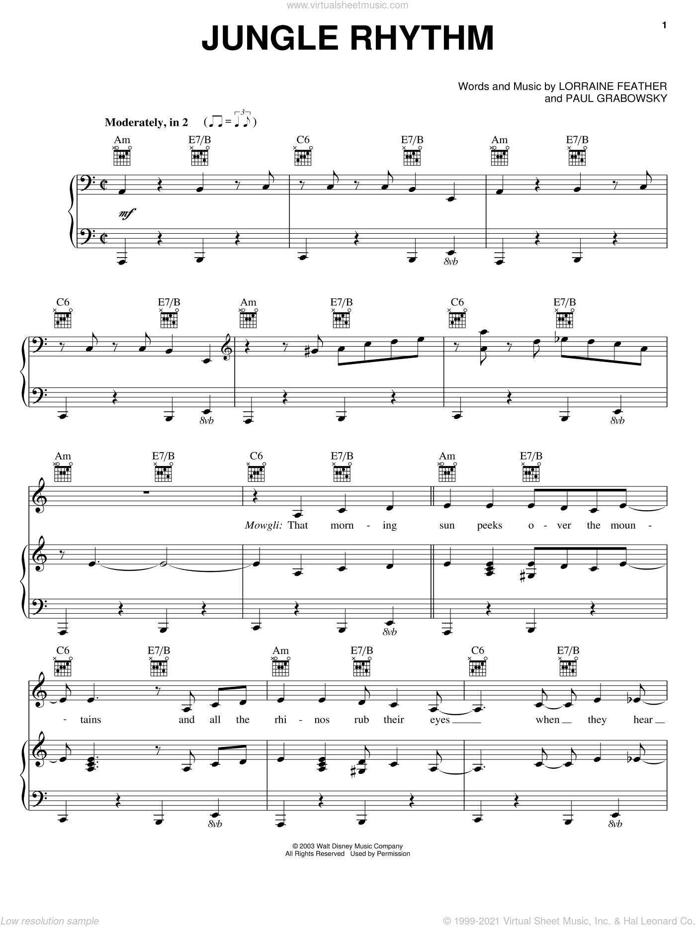 Jungle Rhythm sheet music for voice, piano or guitar by Paul Grabowsky and Lorraine Feather. Score Image Preview.