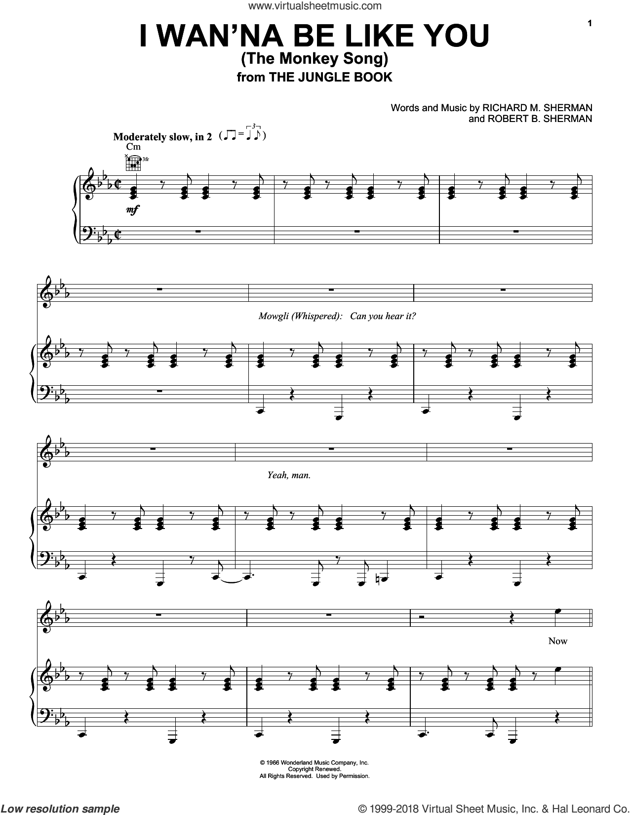 I Wan'na Be Like You (The Monkey Song) sheet music for voice, piano or guitar by Sherman Brothers, Richard M. Sherman and Robert B. Sherman, intermediate skill level