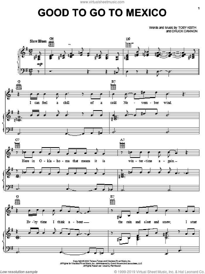 Good To Go To Mexico sheet music for voice, piano or guitar by Chuck Cannon and Toby Keith. Score Image Preview.
