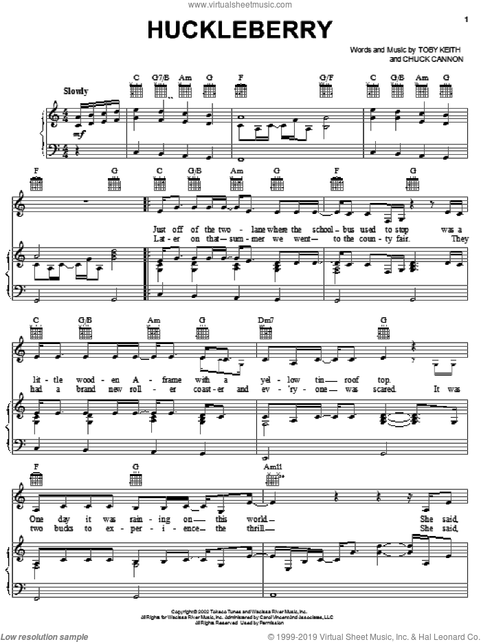 Huckleberry sheet music for voice, piano or guitar by Chuck Cannon and Toby Keith. Score Image Preview.