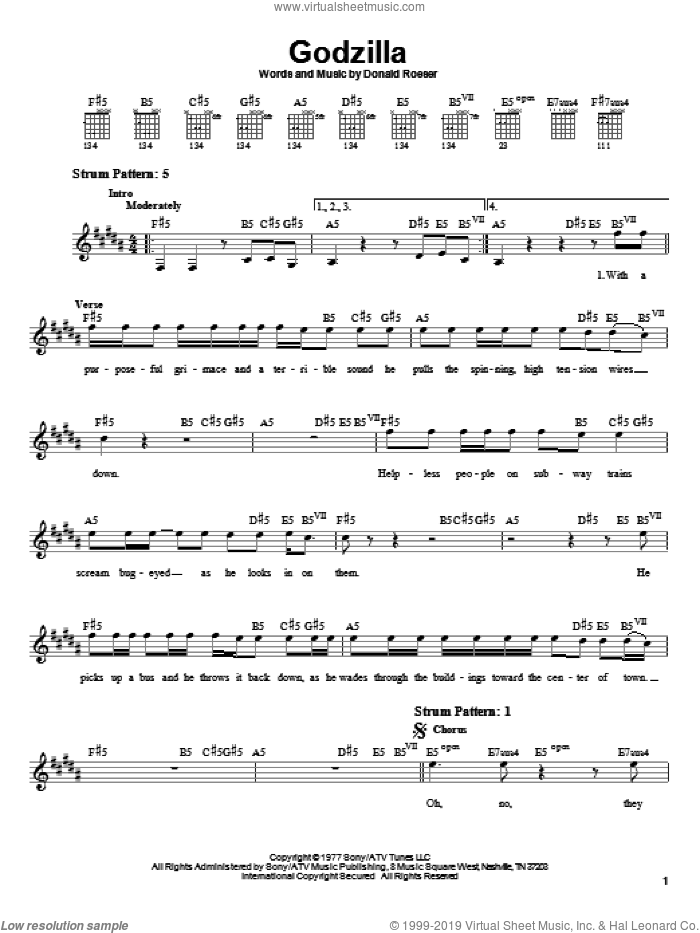 Godzilla sheet music for guitar solo (chords) by Blue Oyster Cult. Score Image Preview.