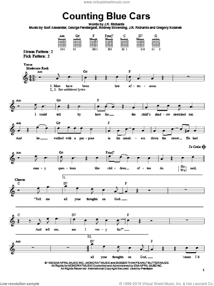 Counting Blue Cars sheet music for guitar solo (chords) by Dishwalla, George Pendergast, J.R. Richards and Scot Alexander, easy guitar (chords). Score Image Preview.