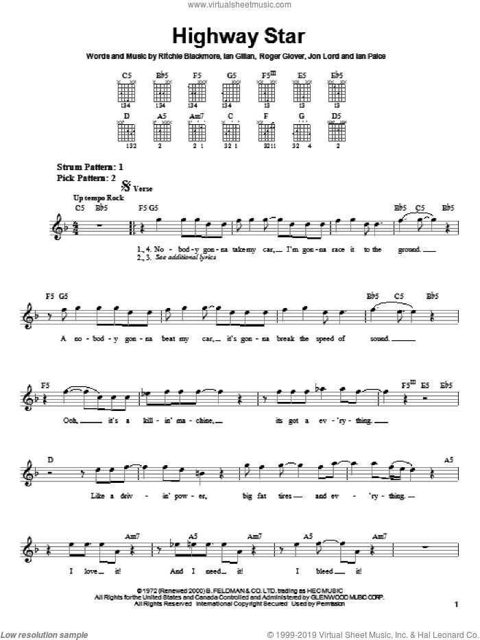 Highway Star sheet music for guitar solo (chords) by Deep Purple, Ian Gillan, Ritchie Blackmore and Roger Glover, easy guitar (chords)