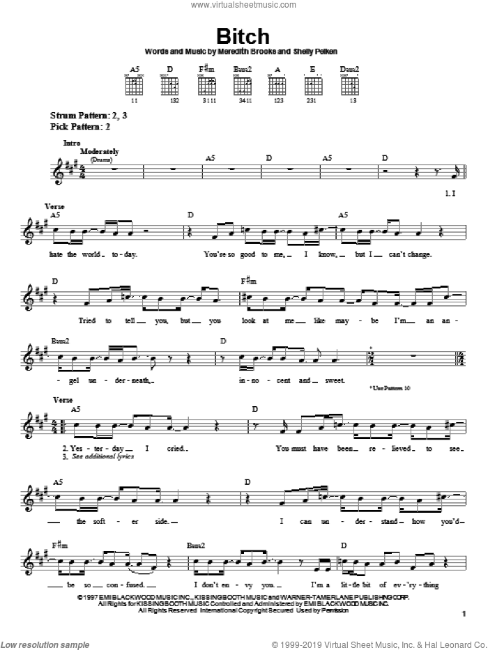 Bitch sheet music for guitar solo (chords) by Shelly Peiken