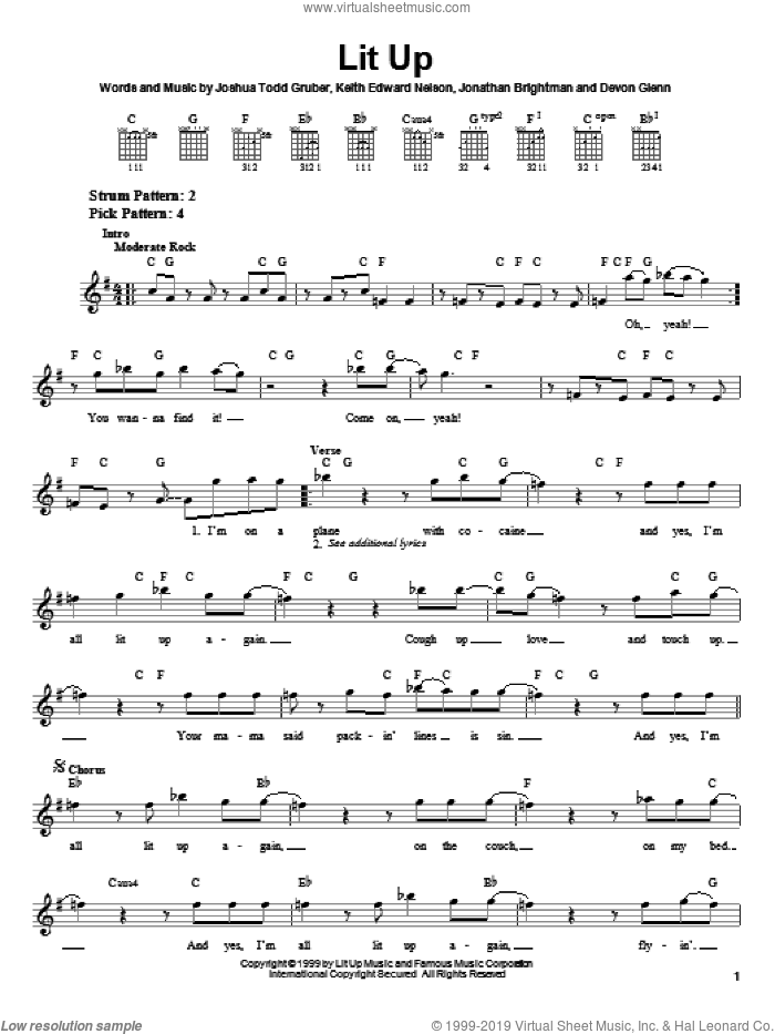 Lit Up sheet music for guitar solo (chords) by Keith Edward Nelson