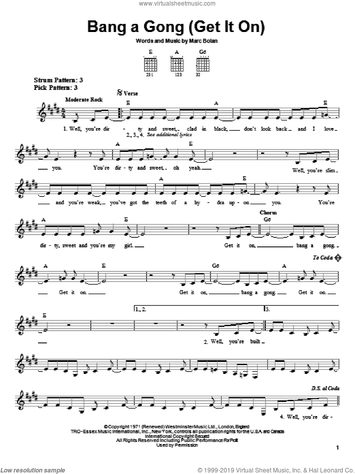 Bang A Gong (Get It On) sheet music for guitar solo (chords) by T Rex, The Power Station and Marc Bolan, easy guitar (chords)