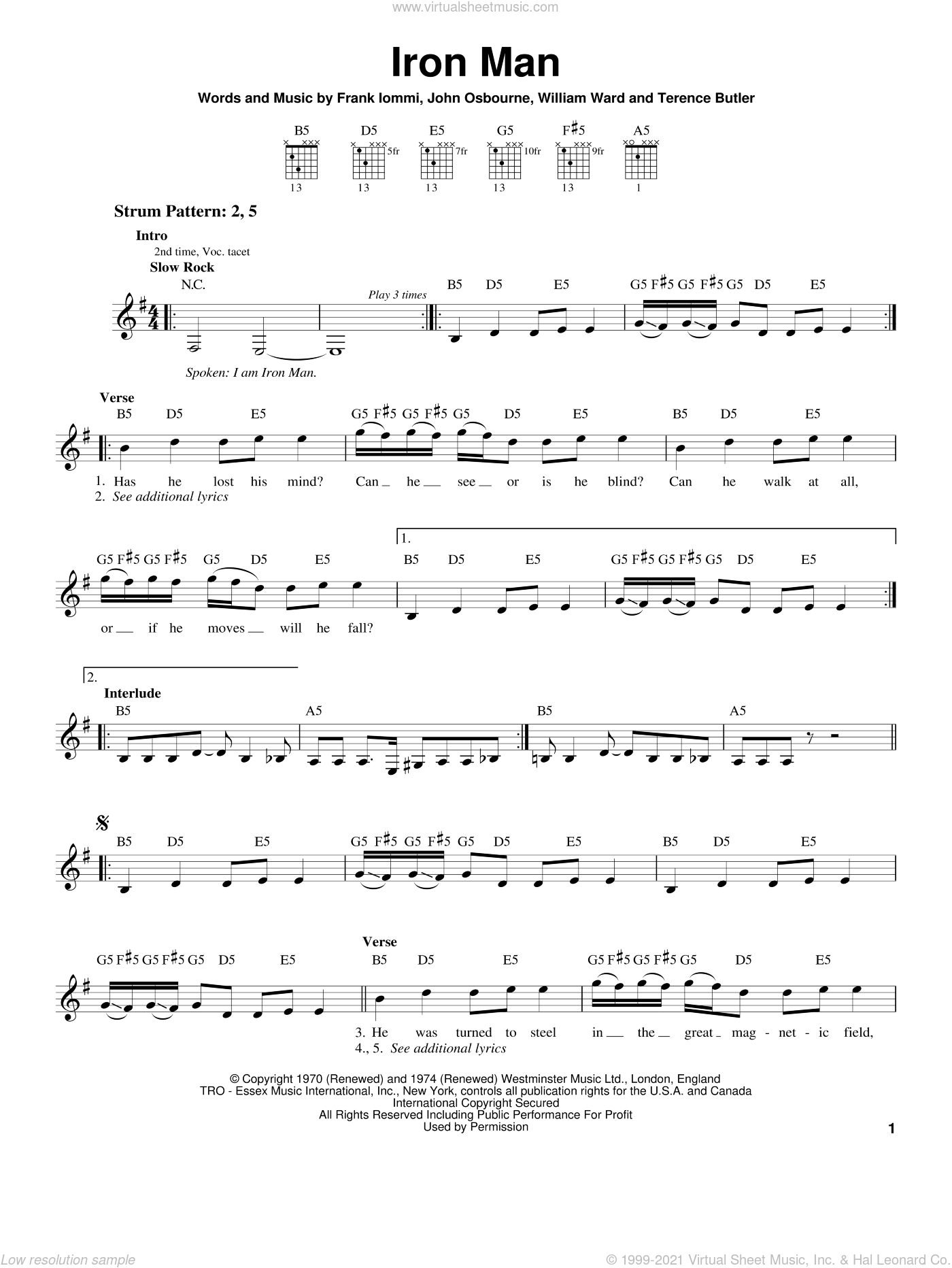 Iron Man sheet music for guitar solo (chords) by Black Sabbath, Ozzy Osbourne, Frank Iommi, John Osbourne and William Ward, easy guitar (chords)