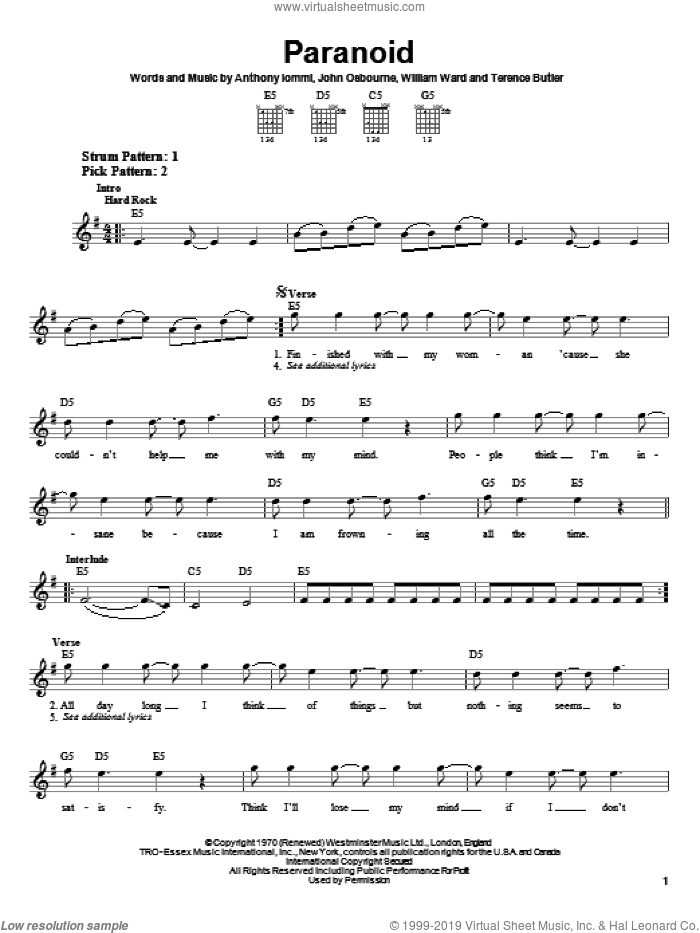 Paranoid sheet music for guitar solo (chords) by Black Sabbath and Ozzy Osbourne, easy guitar (chords). Score Image Preview.