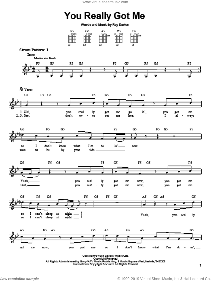 You Really Got Me sheet music for guitar solo (chords) by Ray Davies