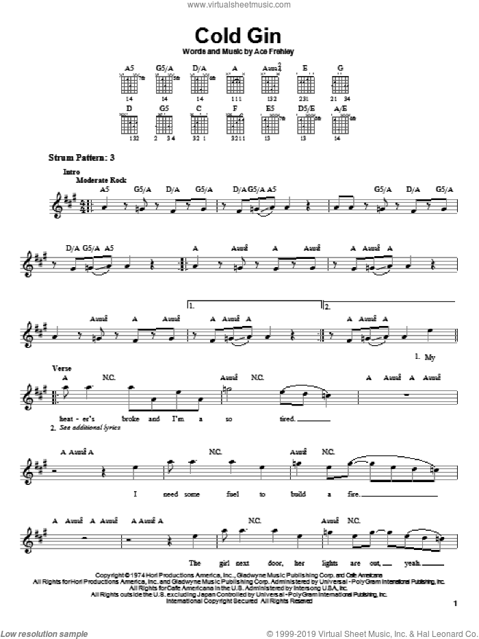 Cold Gin sheet music for guitar solo (chords) by KISS and Ace Frehley, easy guitar (chords)