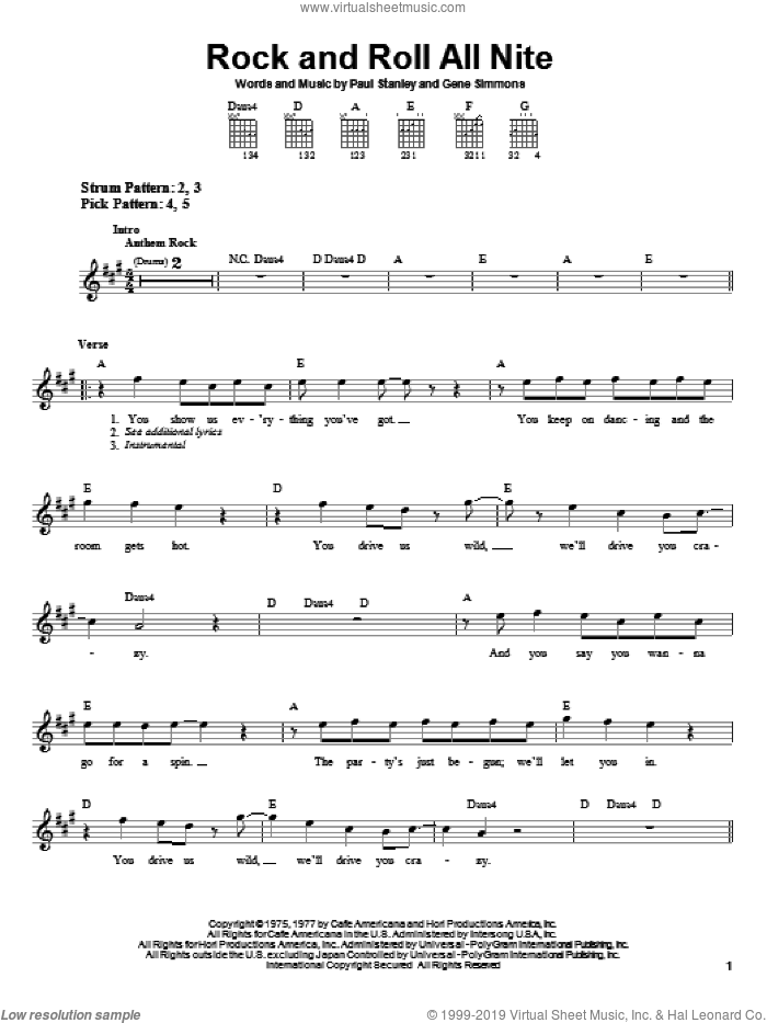 Rock And Roll All Nite sheet music for guitar solo (chords) by Paul Stanley, KISS and Gene Simmons. Score Image Preview.