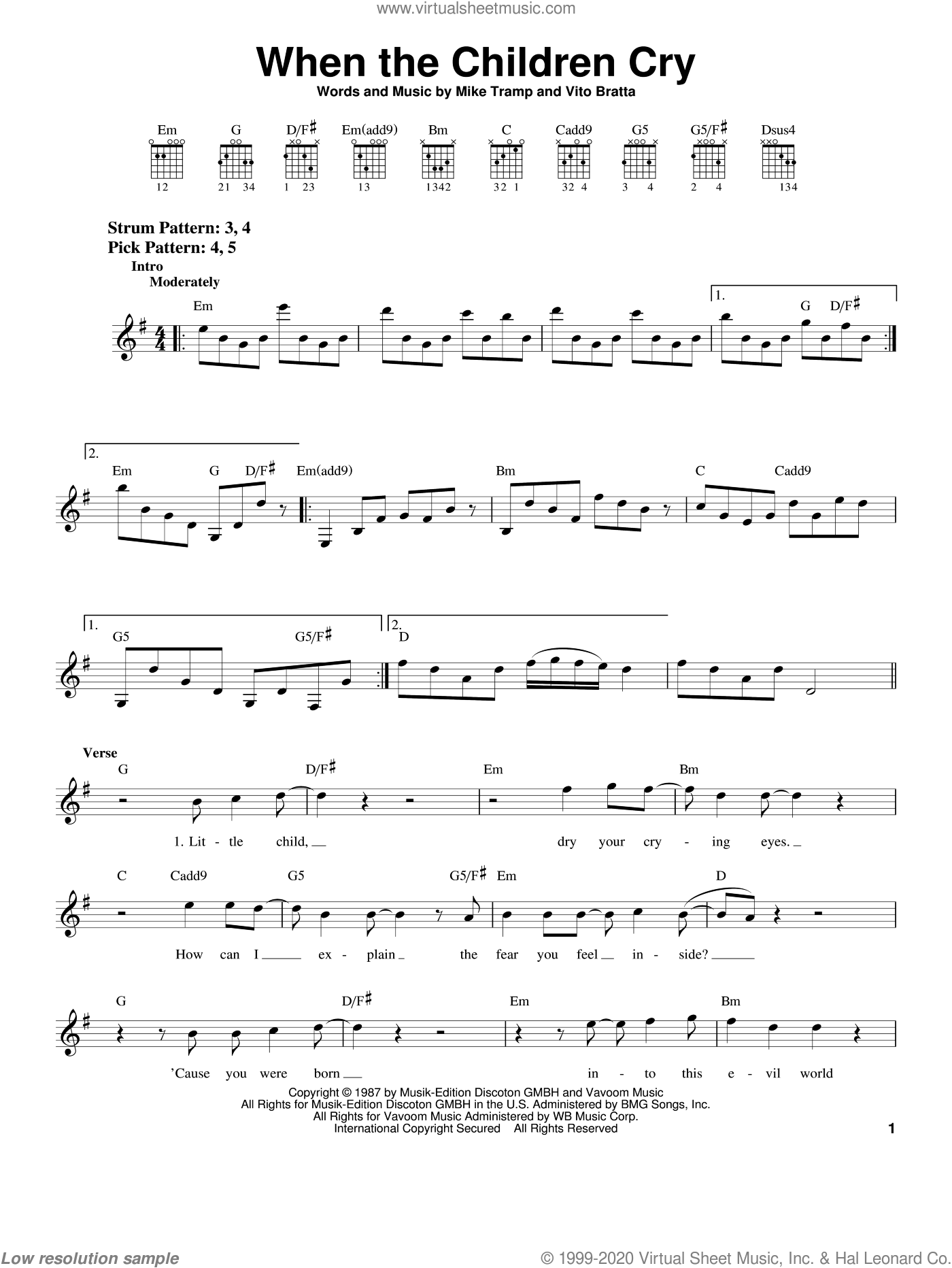 When The Children Cry sheet music for guitar solo (chords) by Vito Bratta, White Lion and Mike Tramp. Score Image Preview.