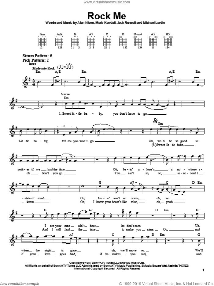 Rock Me sheet music for guitar solo (chords) by Great White, Alan Niven and Mark Kendall, easy guitar (chords). Score Image Preview.