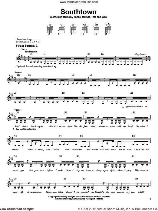 Southtown sheet music for guitar solo (chords) by Traa. Score Image Preview.
