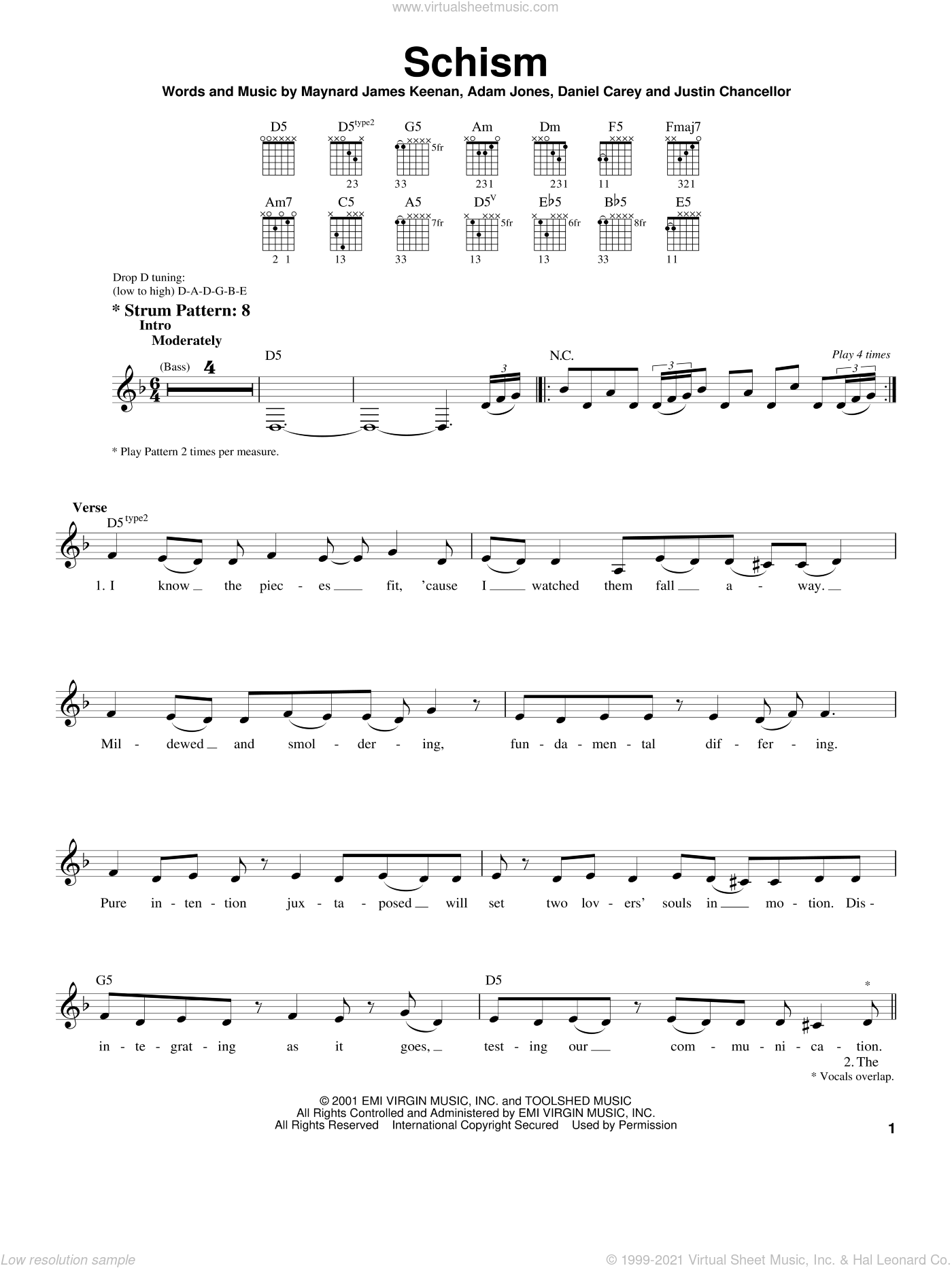 Schism sheet music for guitar solo (chords) by Tool, Adam Jones, Daniel Carey and Maynard James Keenan, easy guitar (chords)