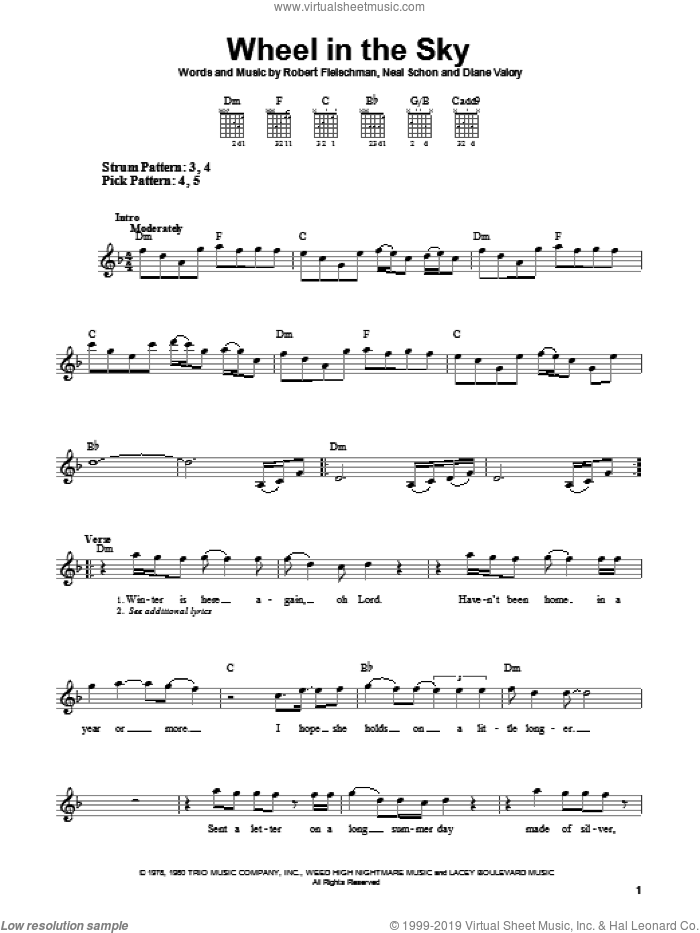 Wheel In The Sky sheet music for guitar solo (chords) by Journey, Diane Valory, Neal Schon and Robert Fleischman. Score Image Preview.