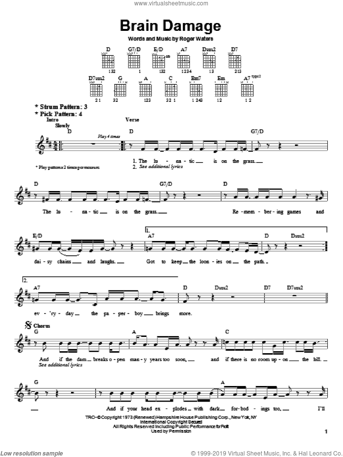 Brain Damage sheet music for guitar solo (chords) by Pink Floyd and Roger Waters, easy guitar (chords)