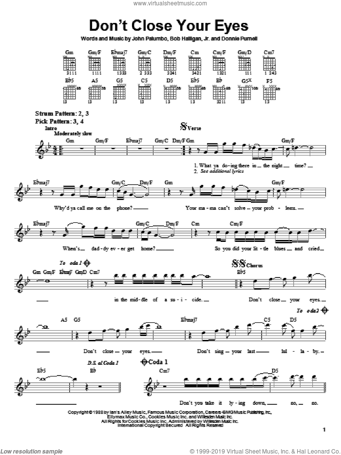 Don't Close Your Eyes sheet music for guitar solo (chords) by Kix, Bob Halligan, Jr., Donnie Purnell and John Palumbo, easy guitar (chords)