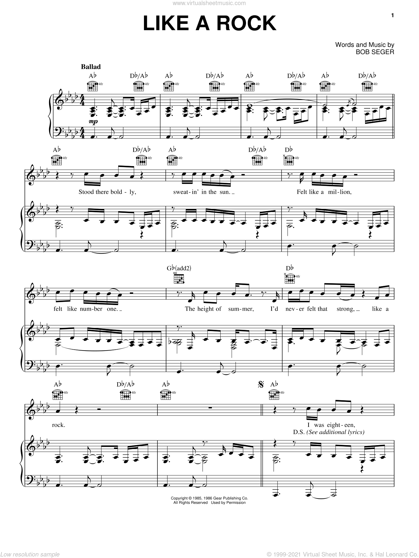 Like A Rock sheet music for voice, piano or guitar by Bob Seger, intermediate skill level
