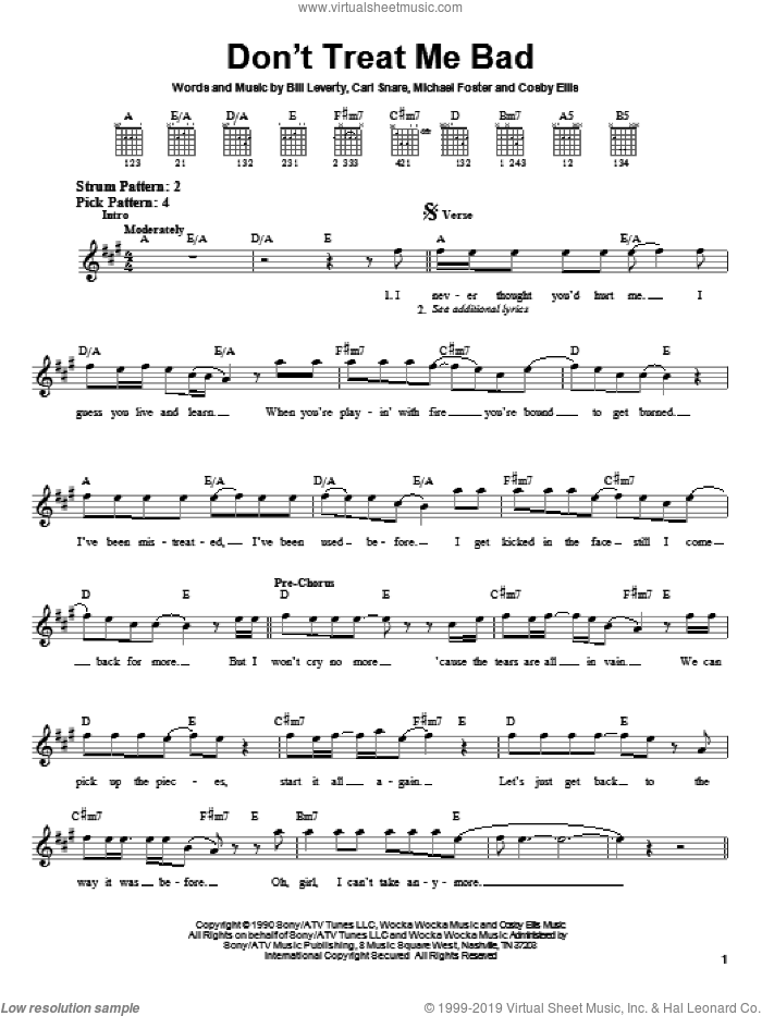 Don't Treat Me Bad sheet music for guitar solo (chords) by Firehouse, Bill Leverty, Carl Snare and Michael Foster, easy guitar (chords). Score Image Preview.