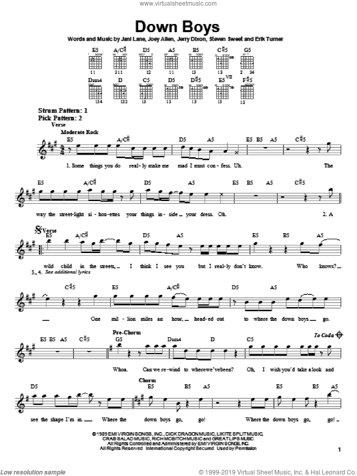 Down Boys sheet music for guitar solo (chords) by Warrant, Jani Lane, Jerry Dixon and Joey Allen, easy guitar (chords)