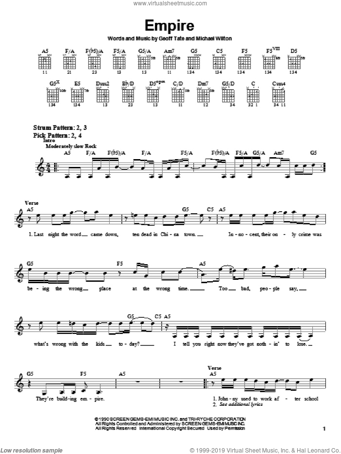Empire sheet music for guitar solo (chords) by Queensryche, Geoff Tate and Michael Wilton, easy guitar (chords). Score Image Preview.