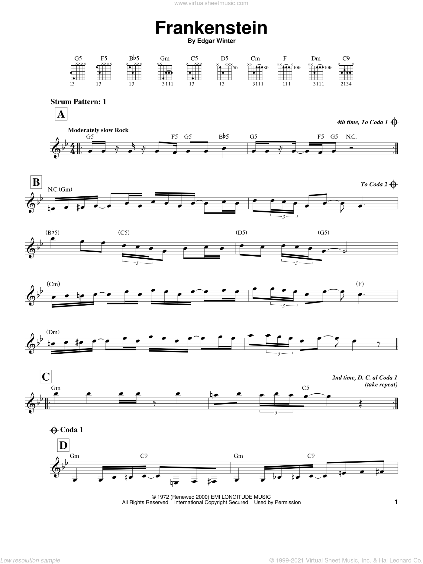 Frankenstein sheet music for guitar solo (chords) by Edgar Winter Group and Edgar Winter. Score Image Preview.