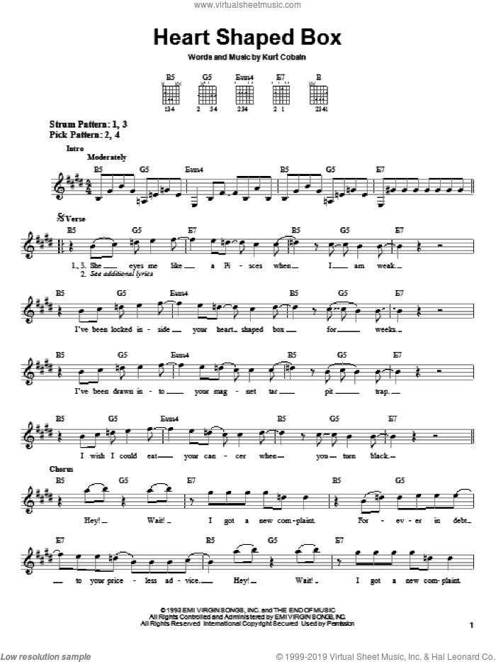 Heart Shaped Box sheet music for guitar solo (chords) by Nirvana, easy guitar (chords). Score Image Preview.
