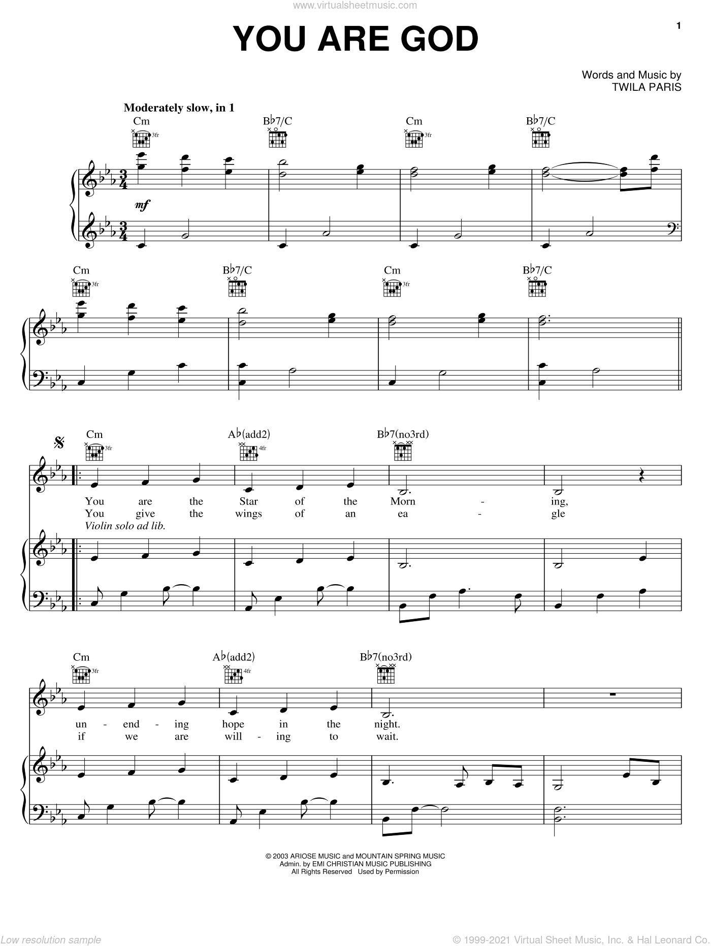 You Are God sheet music for voice, piano or guitar by Twila Paris, intermediate skill level