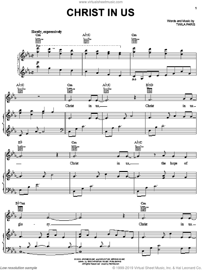 Christ In Us sheet music for voice, piano or guitar by Twila Paris, intermediate skill level