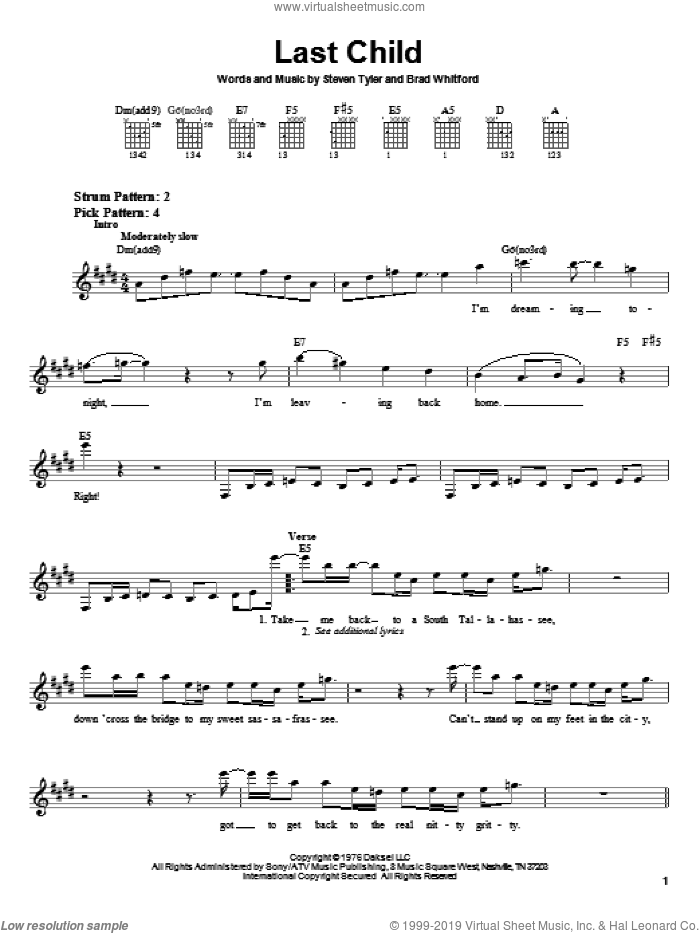 Last Child sheet music for guitar solo (chords) by Aerosmith, Brad Whitford and Steven Tyler, easy guitar (chords)
