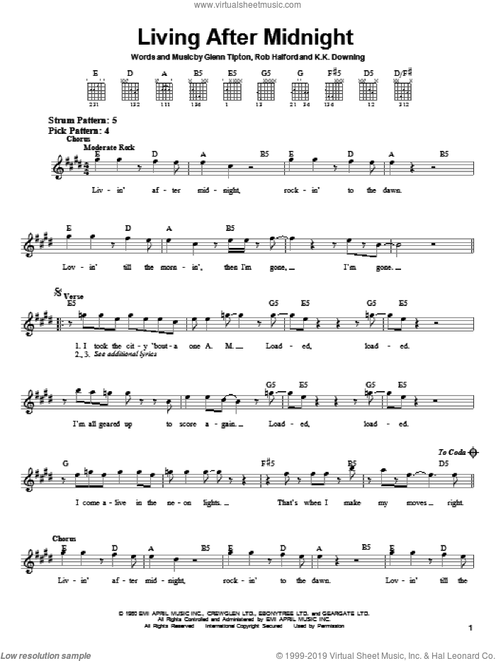 Living After Midnight sheet music for guitar solo (chords) by Judas Priest, Glenn Tipton, K.K. Downing and Rob Halford, easy guitar (chords)