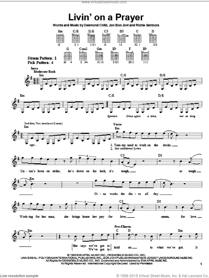 Livin' On A Prayer sheet music for guitar solo (chords) by Bon Jovi, Desmond Child and Richie Sambora, easy guitar (chords)