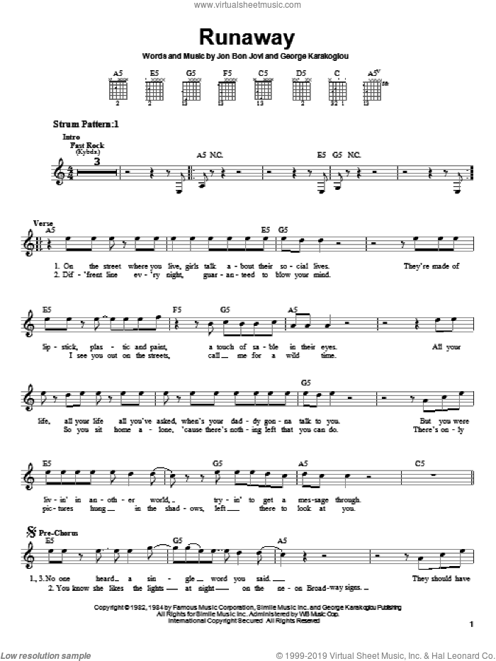 Runaway sheet music for guitar solo (chords) by Bon Jovi and George Karak, easy guitar (chords)