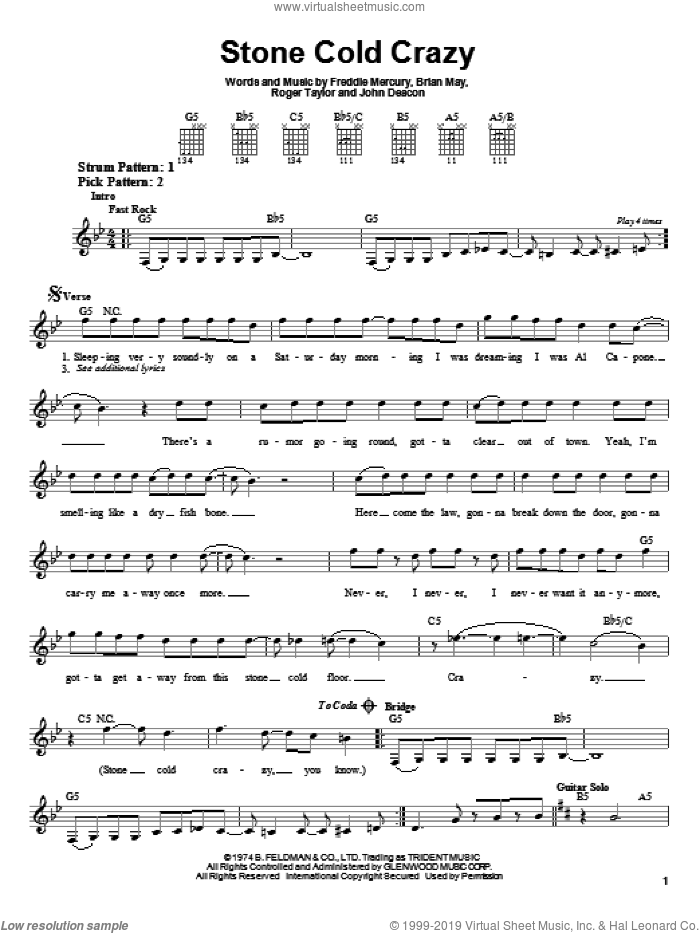 Stone Cold Crazy sheet music for guitar solo (chords) by Queen, Metallica and Freddie Mercury, easy guitar (chords). Score Image Preview.