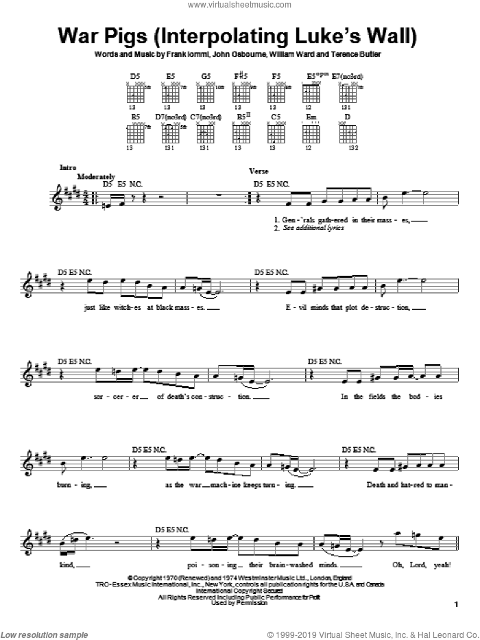 War Pigs (Interpolating Luke's Wall) sheet music for guitar solo (chords) by Black Sabbath and Ozzy Osbourne, easy guitar (chords). Score Image Preview.