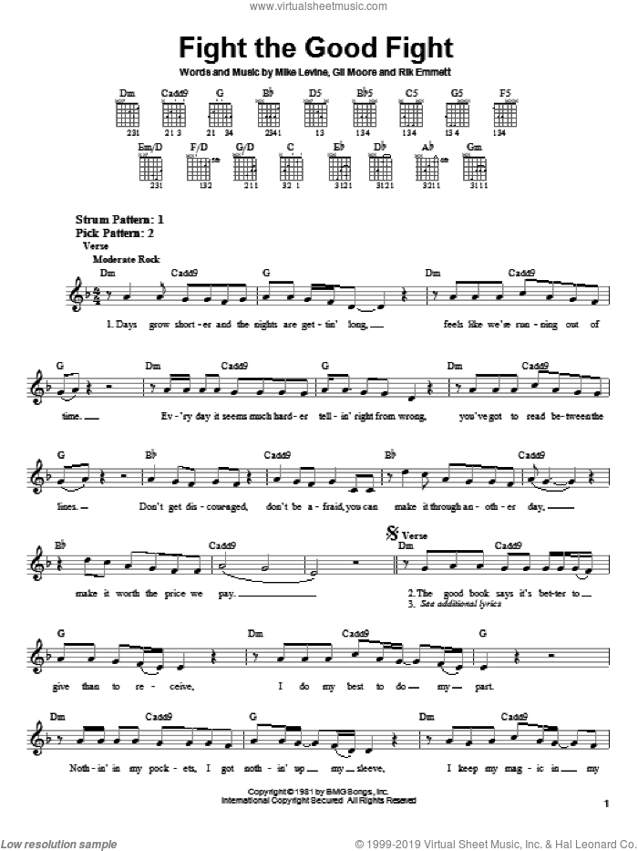 Fight The Good Fight sheet music for guitar solo (chords) by Triumph, Gil Moore, Mike Levine and Rik Emmett, easy guitar (chords)